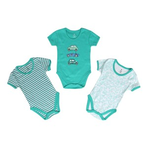 Eten Infant's Boys Bodysuit 3Pcs Set Short Sleeve Green