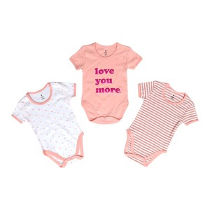 Eten Infant Girls Bodysuit 3Pcs Set Short Sleeve Pink