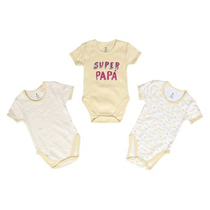 Eten Infant Girls Bodysuit 3Pcs Set Short Sleeve Yellow