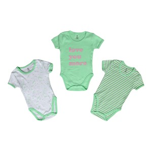 Eten Infant Girls Bodysuit 3Pcs Set Short Sleeve Green
