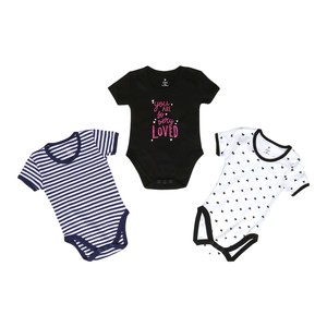 Eten Infant Girls Bodysuit 3Pcs Set Short Sleeve Black