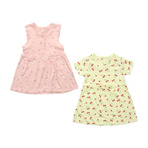 Eten Infants Girls Dress Short Sleeve 2Pcs Yellow Pink 6X24M