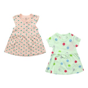 Eten Infants Girls Dress Short Sleeve 2Pcs Green Pink 6X24M
