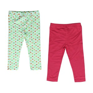 Eten Infants Girls Leggings 2Pcs Green Pink 6-24M