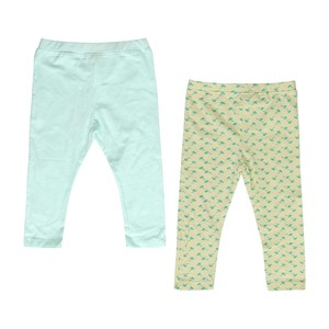 Eten Infants Girls Leggings 2Pcs Mint Yellow Aop 6-24M