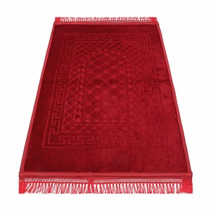 Golden Wheat Embossed Prayer Mat with rachel softness( 80x120cm) Red