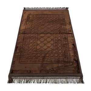 Golden Wheat Embossed Prayer Mat with rachel softness( 80x120cm) Coffee