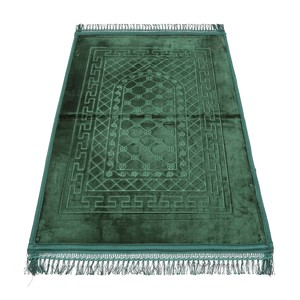 Golden Wheat Embossed Prayer Mat with rachel softness( 80x120cm) Green