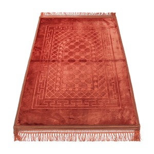 Golden Wheat Embossed Prayer Mat with rachel softness( 80x120cm) Brown