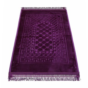 Golden Wheat Embossed Prayer Mat with rachel softness( 80x120cm) Purple