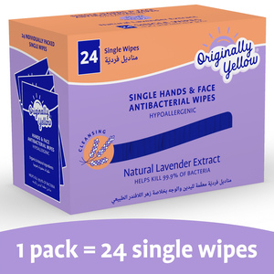 Originally Yellow Single Hands And Face Antibacterial Wipes Lavender 24pcs