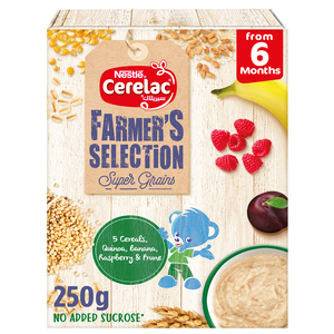 Nestle Cerelac Farmer's Selection Bib 5 Cereals Quinoa Banana Raspberry & Prune From 6 Months 250g