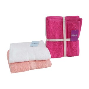 Regency Hand Towel Cotton 2pcs Set Assorted Colors Size: W40 X L70cm