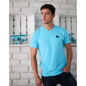 Marco Donateli Men's V-Neck T-Shirt S/S MDV3 River Blue