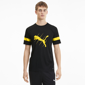 Puma Men's Round Neck T-Shirt Short Sleeve 65646719 Black Ultra Yellow Small