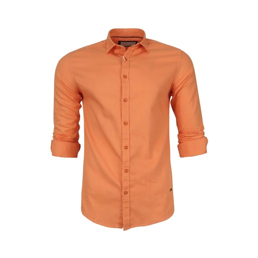 Debackers Men's Casual Shirt Long Sleeve 2025 Orange Meduim