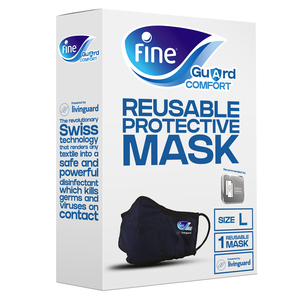 Fine Guard Comfort Face Mask With Livinguard Technology Infection Prevention Size Large 1pc