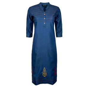 Khwaish Women's Denim Kurti 3/4 Sleeve DNM-03