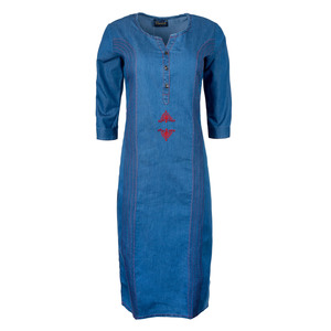 Khwaish Women's Denim Kurti 3/4 Sleeve DNM-04