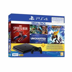 Sony PlayStation4 500GB + Spider-Man + Uncharted Collection + Ratchet&Clank + Sony PlayStation Plus-90 Days Subscription