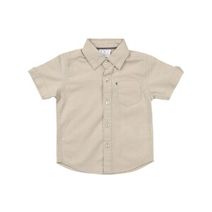 Debackers Infants Boys Linen Shirt Short Sleeve Khaki 6M-24M