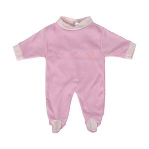 Cortigiani Infant's Girls Cotton Romper Long Sleeve Pink
