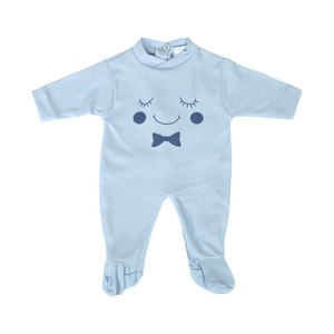 Cortigiani Infant's Boys Cotton Romper Long Sleeve Blue