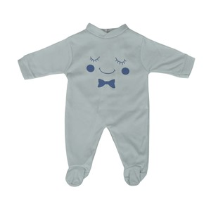 Cortigiani Infant's Boys Cotton Romper Long Sleeve Light Grey