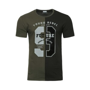 Cortigiani Men's Round Neck T-Shirt Short Sleeve BSR005 Olive-Black