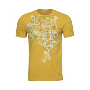 Cortigiani Men's Round Neck T-Shirt Short Sleeve BSR006 Yellow