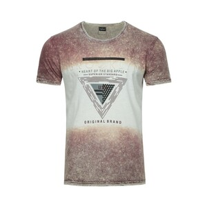Cortigiani Men's Round Neck T-Shirt Short Sleeve BSR055 Maroon