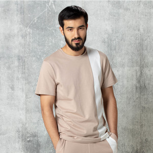 Reo Men's Fashion Short Sleeve Slim Fit T-Shirt B0M387C Beige