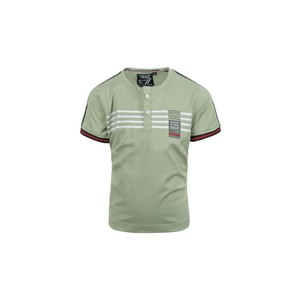 Ruff Boys T-Shirt Henley-Neck Short Sleeve KB11789L Green 2-8Y
