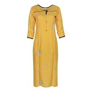 Eten Women's Long Kurti Long Sleeve PCK113 Yellow