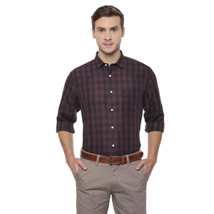 Allen Solly Men's Casual Shirt Long Sleeve ASSFWSPFB69420 Brown