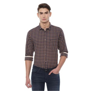 Allen Solly Men's Casual Shirt Long Sleeve ASSFWSPFS33942 Brown