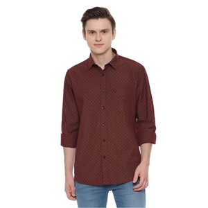 Allen Solly Men's Casual Shirt Long Sleeve ASSFWSPFW45070 Wine