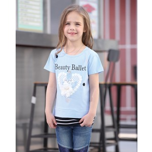Debackers Girls T-Shirt Round Neck Short Sleeve D19131 Blue 2-8Y