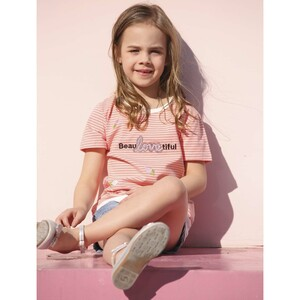 Debackers Girls T-Shirt Round Neck Short Sleeve D19134 Salmon 2-8Y