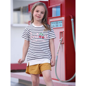 Debackers Girls T-Shirt Round Neck Short Sleeve D19135 White/Navy 2-8Y