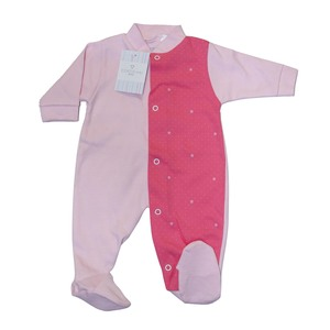 Cortigiani Girls Cotton Romper Long Sleeve Pink & Deep Pink