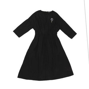 Reo Women's Elasticated Waist & Drop Shoulder Midi Dress D9W831A 3/4 Sleeve Black