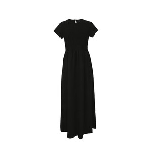 Reo Women's Front Frilled Long Dress D9W816A Short Sleeve Black