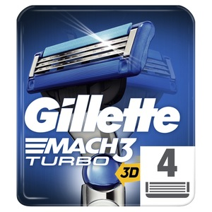 Gillette Mach3 Turbo Men's Razor Blade Refills 4pcs