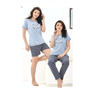Debackers Women's Pyjama S/S 3Pcs Set (Top-Shorts-Bottom) 417 Blue Medium