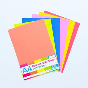 Win Plus Fluorescent Board A4 20Sheets Assorted Color