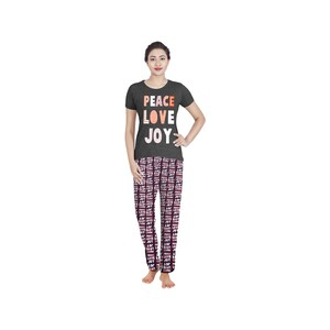 Eten Womens Pyjama Set Short Sleeve VJ2020-8 Dark Grey