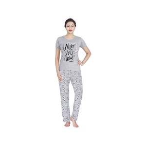 Eten Womens Pyjama Set Short Sleeve VJ2020-9 Light Grey