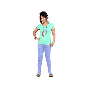 Eten Womens Pyjama Set Short Sleeve VJ2020-11 Sky Blue