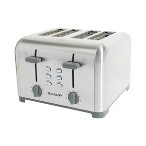Sharp 4 Slice Stainless Steel Toaster With Crumb Tray Silver 1400W KZ-T42-S3